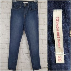 Levi's 721 High Rise Skinny Jeans Stretch Hi Rise
